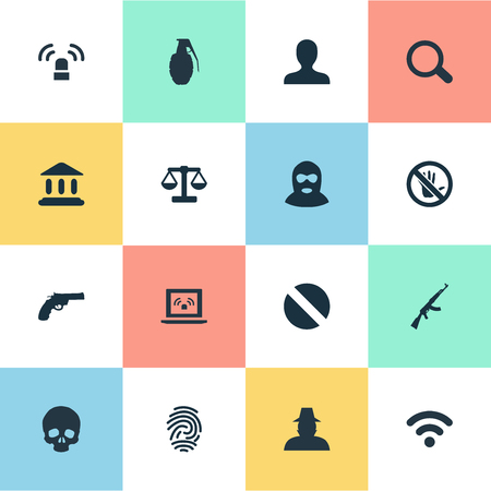 Vector Illustration Set Of Simple Fault Icons. Elements Gun, Justice, Touch Forbidden And Other Synonyms Seek, Person And Governemental.