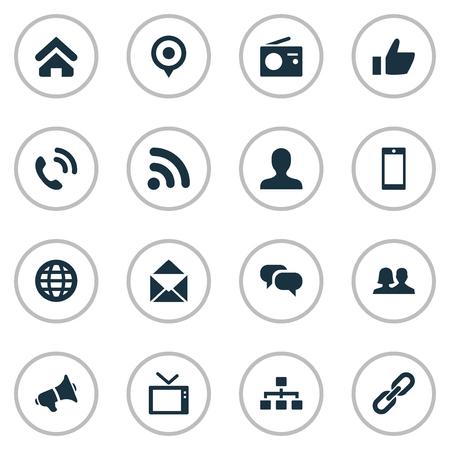 벡터 일러스트 레이 션 간단한 통신 아이콘의 집합입니다. 요소 핸드셋, 세계, 웨이브 동의어 무전기, 네트워킹 및 지구. 일러스트