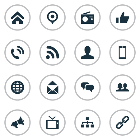Vector Illustration Set Of Simple Communication Icons. Elements Handset, World, Wave Synonyms Walkie, Networking And Earth. Иллюстрация
