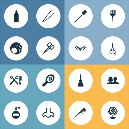 Vector Illustration Set Of Simple Cosmetics Icons. Elements Beauty, Mascara, Nail Polish And Other Synonyms Aroma, Fragrance And Couple.
