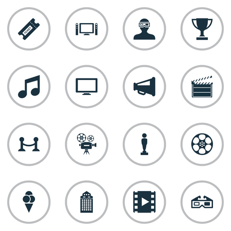Vector Illustration Set Of Simple Cinema Icons. Elements Music Note, Spectator, Filmstrip And Other Synonyms Prize, Sundae And Television.