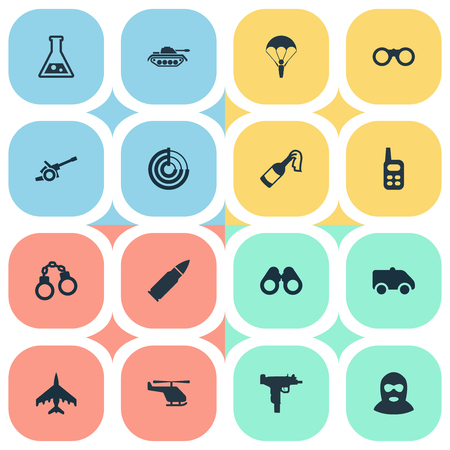 Vector Illustration Set Of Simple Terror Icons. Elements Walkies, Terrorist, Manacles And Other Synonyms Plane, Fire And Bomb.