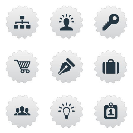 Vector Illustration Set Of Simple Trade Icons. Elements Relationship, Bulb, Nib And Other Synonyms Portfolio, Nib And Cart.