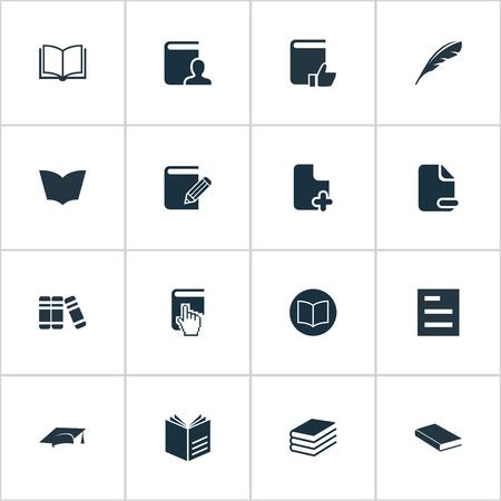 Vector Illustration Set Of Simple Education Icons. Elements Novel, Opened Book, Reading And Other Synonyms Textbook, Plus And Cap.