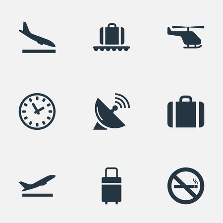벡터 일러스트 레이 션 간단한 여행 아이콘의 집합입니다. 요소 담배, 여행 가방, 비행기 및 다른 동의어 컨베이어, 경우 및 그만.