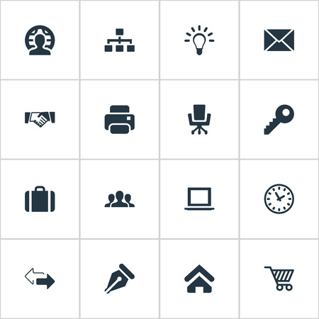 Vector Illustration Set Of Simple B2B Icons. Elements Letter, Trading Purse, Computer And Other Synonyms Group, Network And Trading.