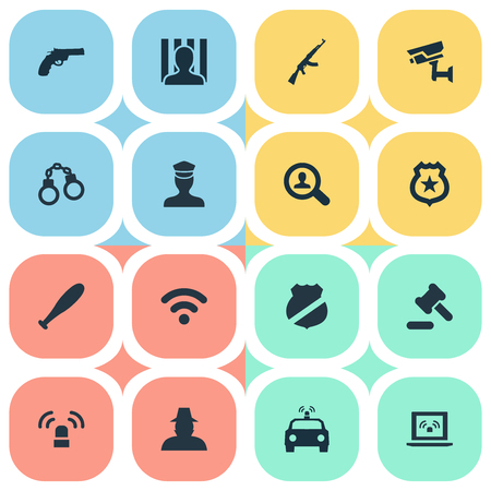 find fault: Vector Illustration Set Of Simple Offense Icons. Elements Investigation, Lock, Grid And Other Synonyms Internet, Sheriff And Safety.