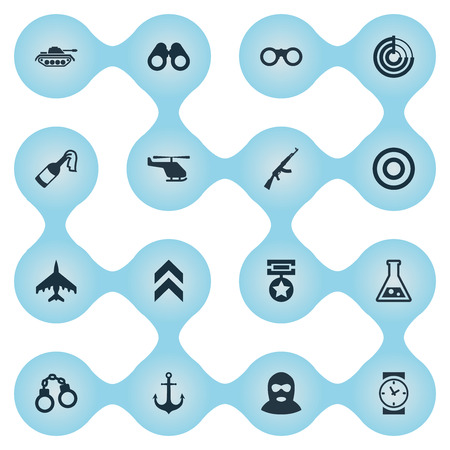 Vector Illustration Set Of Simple Military Icons. Elements Helicopter, Chemistry, Target And Other Synonyms Terrorist, Bomb And Clock.