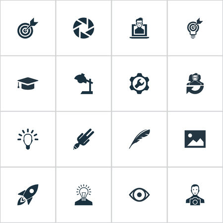 apathy: Vector Illustration Set Of Simple Creative Thinking Icons. Elements Cameraman, Apathy, Rocket And Other Synonyms Young, Darts And Reading.