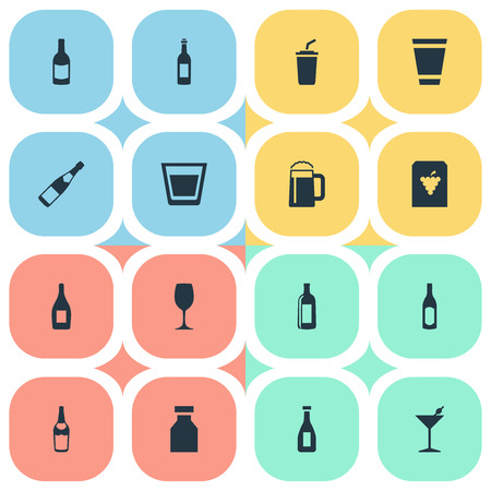 Vector Illustration Set Of Simple Drinks Icons. Elements Ketchup, Glass, Wine And Other Synonyms Drugs, Pint And Fruit. Çizim