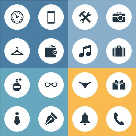 Illustration vectorielle définie des icônes simples. Elements Repair, Cravat, Ring et autres synonymes, travail, étui et outil. Banque d'images - 75275541