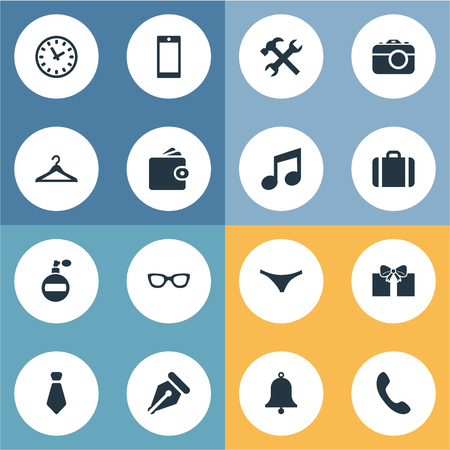Vector Illustration Set Of Simple  Icons. Elements Repair, Cravat, Ring And Other Synonyms Work, Case And Tool. Illustration