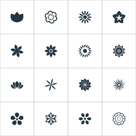 Vector Illustration Set Of Simple Rose Icons. Elements Camomile, Floral, Morning Glory And Other Synonyms Chamomile, Sunflower And Sweet Pea.