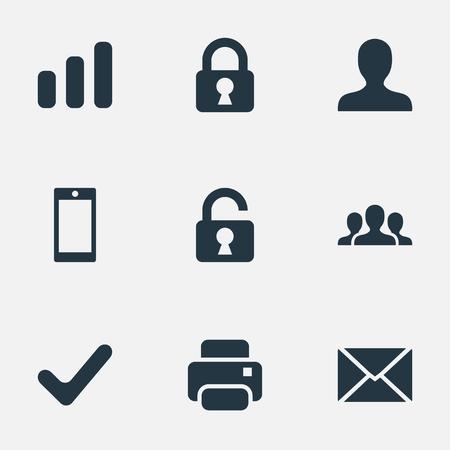 벡터 일러스트 레이 션 간단한 연습 아이콘의 집합입니다. 요소 통계, 잠금, 스마트 폰 및 기타 동의어 프린터, 인쇄물 및 사용자.