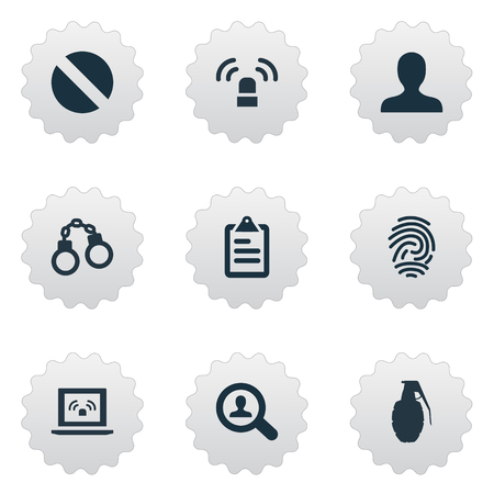 Vector Illustration Set Of Simple Police Icons. Elements Investigation, Checklist, Siren And Other Synonyms Checkbox, Explode And Siren. Illustration