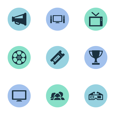 Vector Illustration Set Of Simple Movie Icons. Elements Television, Screen, Megaphone And Other Synonyms Pass, Tv And Family.