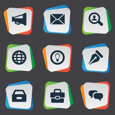 net trade: Vector Illustration Set Of Simple Trade Icons. Elements Chatting, Megaphone, Dossier And Other Synonyms Net, Magnifier And Bulb. Illustration