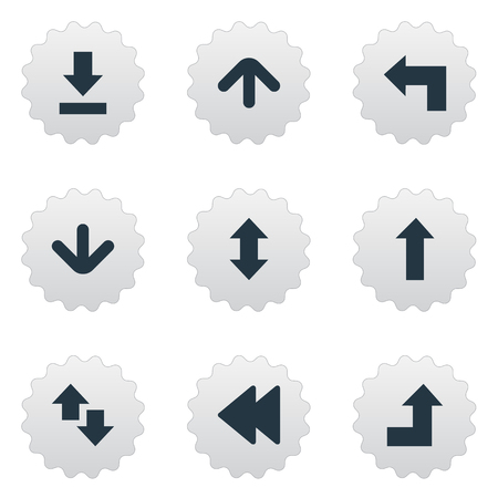 signing papers: Vector Illustration Set Of Simple Pointer Icons. Elements Increasing, Down Up, Downwards Pointing And Other Synonyms Falling, Upward And Left.
