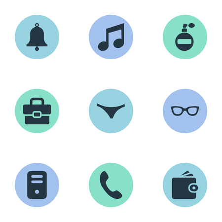 Vector Illustration Set Of Simple Accessories Icons. Elements Eyeglasses, Call Button, Music And Other Synonyms Processor, Ring And Wallet.