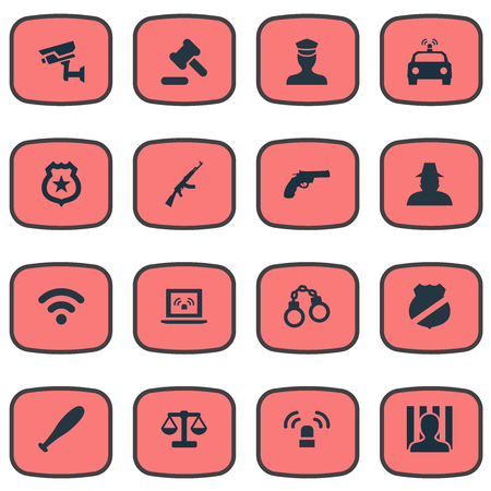 detainee: Vector Illustration Set Of Simple Fault Icons. Elements Hammer, Sheriff, Grid And Other Synonyms Equal, Baseball And Stick.