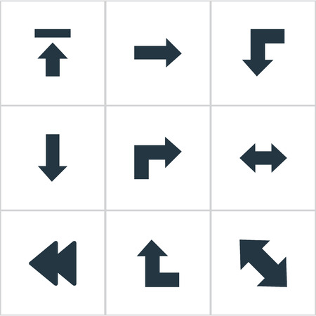 Vector Illustration Set Of Simple Arrows Icons. Elements Rearward, Right Direction, Reverse And Other Synonyms Upload, Pointing And Transfer. Фото со стока - 75738416