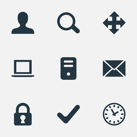 Vector Illustration Set Of Simple Practice Icons. Elements Watch, Check, User And Other Synonyms Envelope, Mailing And Zoom.