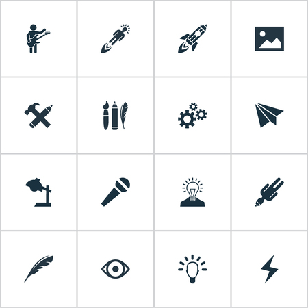 Vector Illustration Set Of Simple Visual Art Icons. Elements Design Instruments, Gears, E-Mail And Other Synonyms Discussion, Process And Charge.