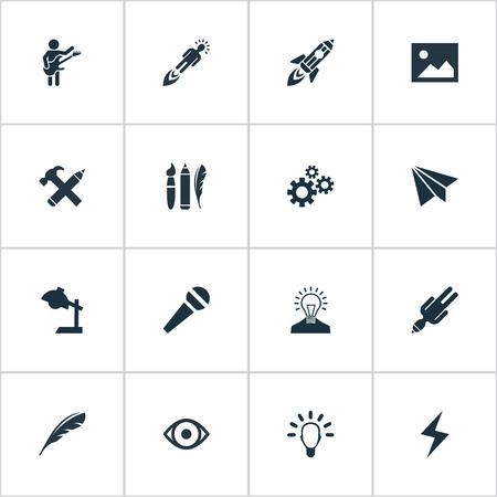 Vectorillustratiereeks Eenvoudige Visuele Kunstpictogrammen. Elementen Ontwerpinstrumenten, tandwielen, e-mail en andere synoniemenbespreking, -proces en laden.