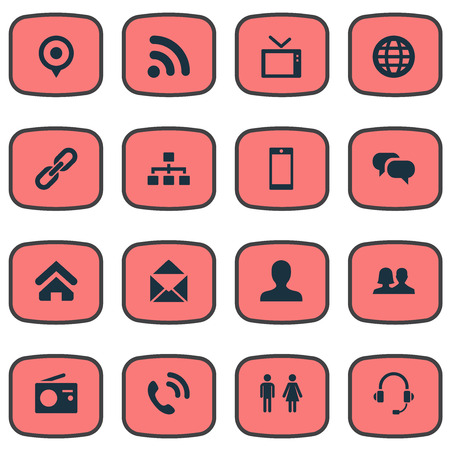 Vector Illustration Set Of Simple Social Icons. Elements Pin, Wave, Member And Other Synonyms Contact, Staff And Link. 向量圖像