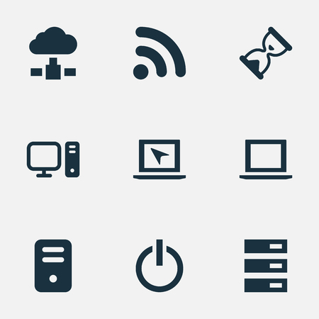 Vector Illustration Set Of Simple Computer Icons. Elements Data Center, Laptop, Memory And Other Synonyms Data, Wave And Hardware. Illustration