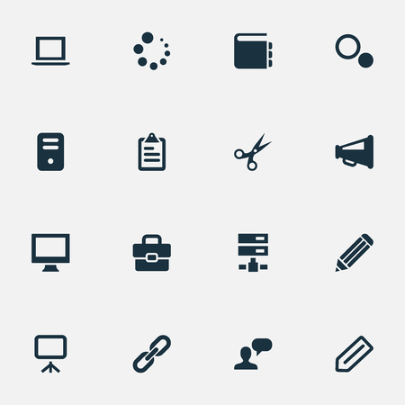 hyperlink: Vector Illustration Set Of Simple Web Icons. Elements Schedule, Briefcase, Display And Other Synonyms Options, Assessment And Trim.