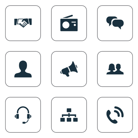 Vector Illustration Set Of Simple Network Icons. Elements Structure, Handset, Walkie Synonyms Agreement, Partnership And Handshake.