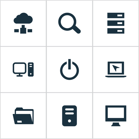 Vector Illustration Set Of Simple Computer Icons. Elements Monitor, Magnifier, Switch Button And Other Synonyms Button, Seek And Data.