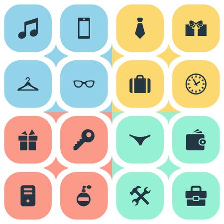 Illustration vectorielle définie des icônes simples. Éléments Business Bag, cintre, temps et autres synonymes, lunettes de soleil et musique Banque d'images - 75738450