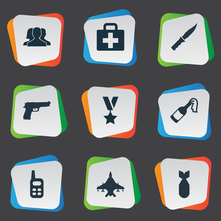 Vector Illustration Set Of Simple Battle Icons. Elements Cold Weapon, Outcast, Medical Kit And Other Synonyms Fighter, Radio And Outcast. Illustration