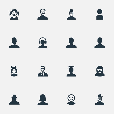 Vector Illustration Set Of Simple Member Icons. Elements Portrait, Whiskers Man, Girl Face And Other Synonyms Female, Student And Culprit.