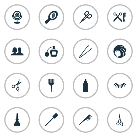 Vector Illustration Set Of Simple Spa Icons. Elements Comb, Pincers, Barber Tool And Other Synonyms Handle, Hairdresser And Nails. Illustration