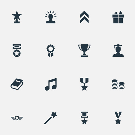 Vector Illustration Set Of Simple Reward Icons. Elements Award, Medal, Honor And Other Synonyms Graduate, Achievement And Shield. Illustration
