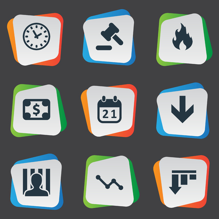 doomed: Vector Illustration Set Of Simple Crisis Icons. Elements Penitentiary, Fire, Bankroll And Other Synonyms Diagram, Work And Hammer.