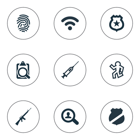 find fault: Vector Illustration Set Of Simple Offense Icons. Elements Internet, Violence, Dead Man And Other Synonyms Biometric, Death And Western.