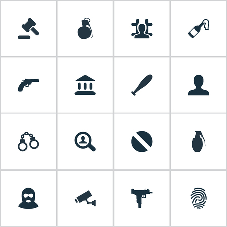 Vector Illustration Set Of Simple Offense Icons. Elements Gun, Thief, Baseball Bat And Other Synonyms Judicial, Biometric And Camera.