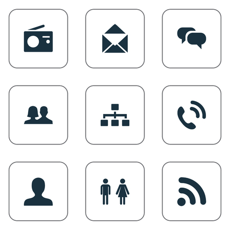 Vector Illustration Set Of Simple Network Icons. Elements Handset, Member, Partner Synonyms Signal, Letter And Mail. Vector Illustration