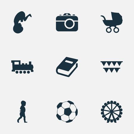 Vector Illustration Set Of Simple Baby Icons. Elements Stroller, Soccer, Ferris Wheel And Other Synonyms Carnaval, Photo And Moments. Çizim