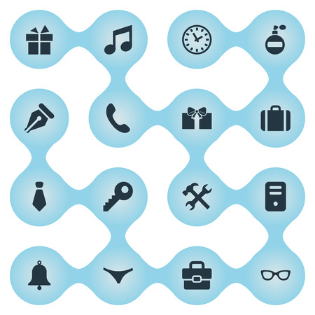 Vector Illustration Set Of Simple  Icons. Elements Business Bag, Ring, Repair And Other Synonyms Password, Briefcase And Musical.