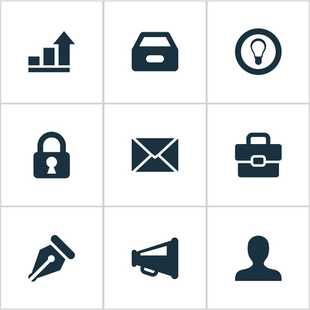 Vector Illustration Set Of Simple Business Icons. Elements Nib, Bulb, Dossier And Other Synonyms Megaphone, Bulb And Inbox. Illustration