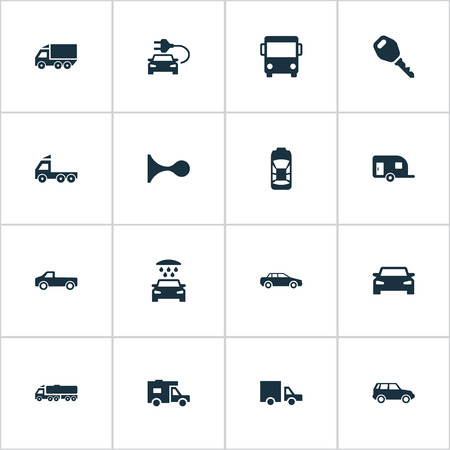 hatchback: Vector Illustration Set Of Simple Transport Icons. Elements Camion, Shipment, Vehicle And Other Synonyms Hatchback, Auto And Carcase. Illustration