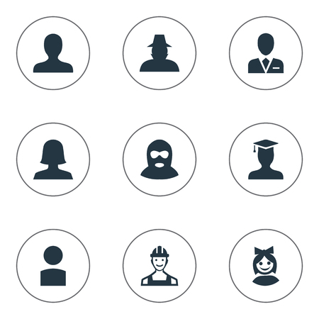 Vector Illustration Set Of Simple Avatar Icons. Elements Felon, Postgraduate, Woman User And Other Synonyms Business, Culprit And Postgraduate. Illustration