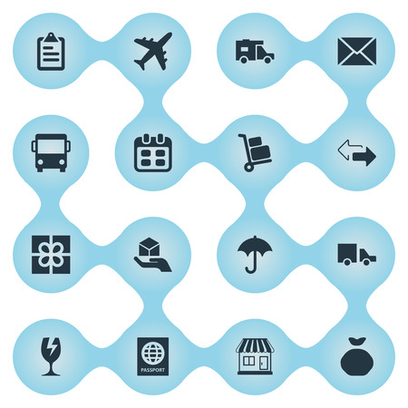 Vector Illustration Set Of Simple Delivery Icons. Elements Day , Holdall , Hand Synonyms Ribbon, Calendar And Caravan. Stock Vector - 75742001