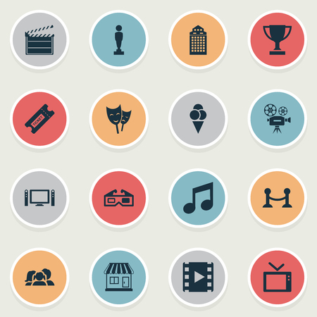 Vector Illustration Set Of Simple Film Icons. Elements Family, Oscar, Rope Barrier And Other Synonyms Ticket, Tv And Reel.