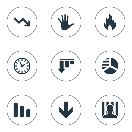 Vector Illustration Set Of Simple Situation Icons. Elements Line Chart, Palm, Round Graph And Other Synonyms Down, Arrow And Blaze.